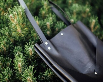 Black Leather Tote/ Leather Shoulder bag / handmade leather goods