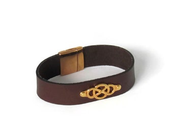 Leather and Gold Infinity Cuff for Men
