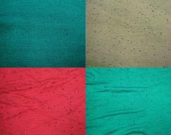 Polyester Rayon Slub With Black Polka Dot Texture Fabric