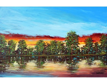 original painting acrylic Abstract  Large canvas Impressionist lake reflections Water  River Modern    tree  30x24