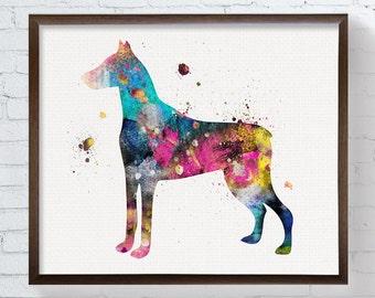 Doberman Pinscher - Doberman Art - Doberman Print - Doberman Painting - Watercolor Doberman - Doberman Poster, Dog Wall Art, Watercolor Dog