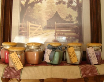 Wooden Top Candle--Pure Soy--Many Scents Available