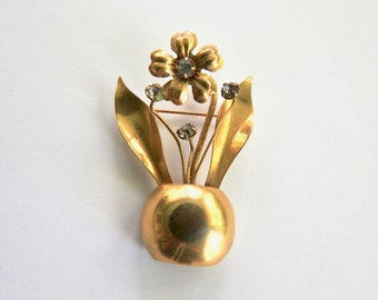 Vintage Flower Pot Brooch