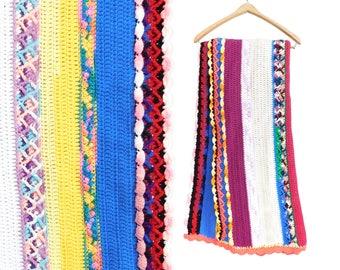 Vintage 70s Colorful Striped Crochet Afghan - Funky Retro Rainbow Stripe Throw Blanket