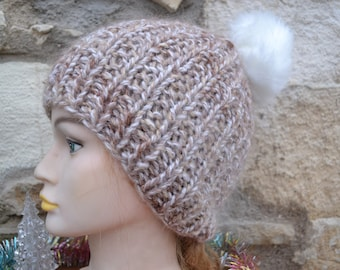beige hand knitted Hat