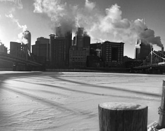 Pittsburgh Panorama Photo, black and white HDR photograph, black & white fine photography print, Still