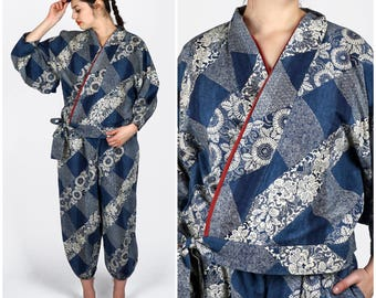 Vintage 1970s Blue and White Floral Geometric Print Kimono Two Piece Set | Medium/Large