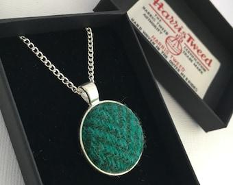 "Harris Tweed Pendant, Necklace, Green Herringbone Harris Tweed, Complete With Gift Box, 14"" 16"" or 18"" Necklace Length"