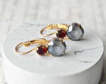 Grey and Ruby Swarovski Golden crystal earrings vintage Red
