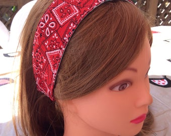 Bandana print headband, baby headband, girl headband, toddler hair wrap, blue red pink purple reversible cotton headband, girl party favor