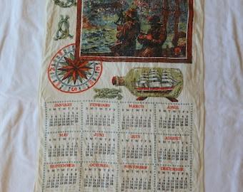 1969 Mariners Tea Towel Calendar~Malandrino Tea Towel~Mariner Tea Towel~1960's Kitsch~1969 Dish Towel~1969 Kitchen Towel~Fisherman Tea Towel