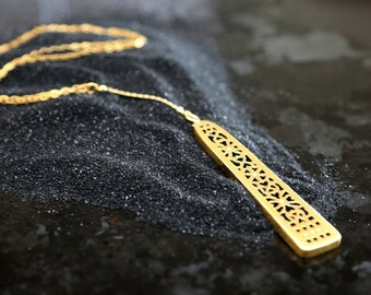 Moroccan Necklace, Gold Y Necklace, Geometric Necklace,  Long Necklace , 14K Gold Necklace, Ethnic Necklace