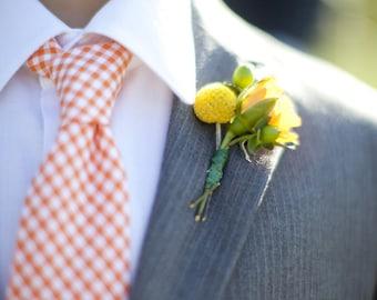 Men's Tie Orange Gingham Necktie for Children or Men Fall Wedding