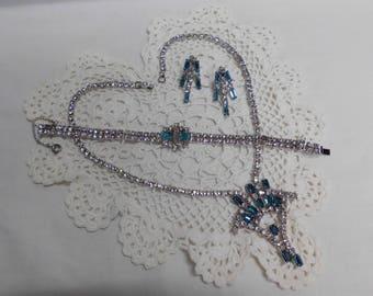 Vintage Set Rhinestone Demi Parure Teal Blue & Clear Drop Necklace Bracelet Dangle Earrings Prom Wedding Something Blue Special Occasion Set