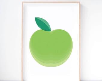 Mutsu Apple Art Print. Apple Print. Apple Illustration. Fruit Print. Kitchen Wall Art. Dining Room Art. Nursery Print. Modern Nursery Decor.