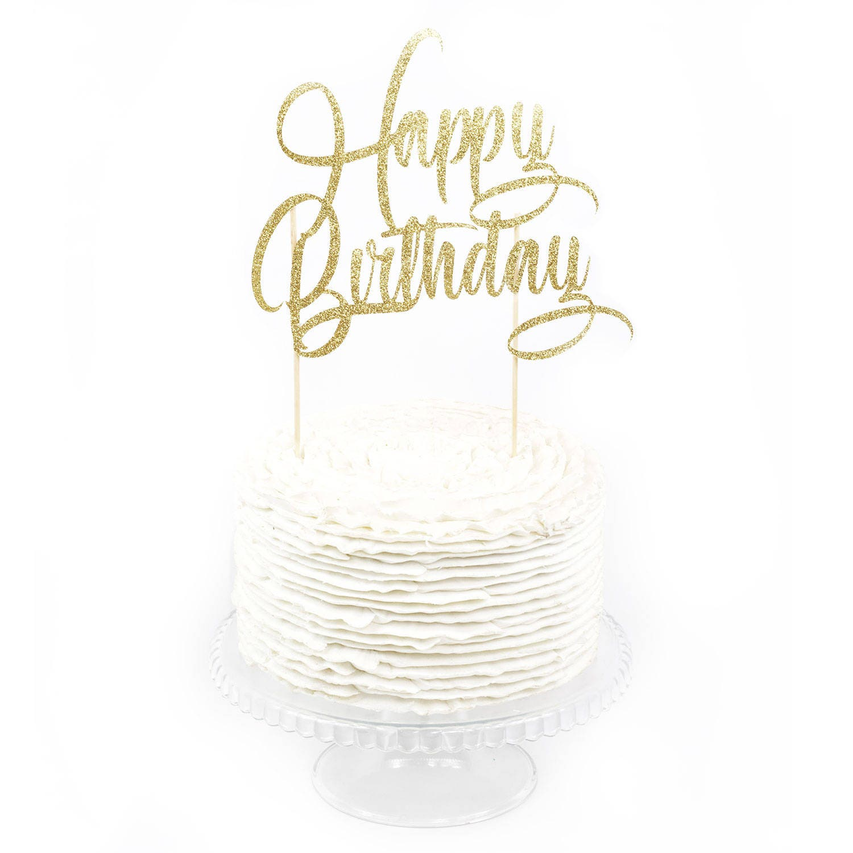 Happy Birthday Cake Toppers Happy Birthday Toothpicks Gold Glitter