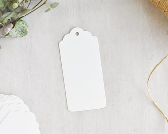 Medium White Scalloped Tags | White Luggage Tags - Smooth White Card - Gift Tags - Swing Tags - Garment Labels - Favour Tags