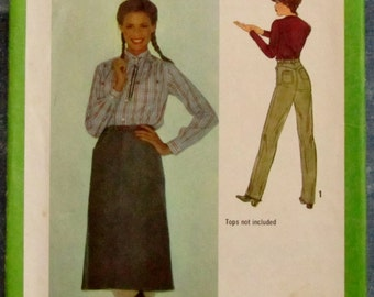 Vintage 1970s Misses Skirt and Pants Size 10 Sewing Pattern Simplicity 9102