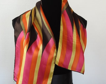 Vintage 60s Op Art Abstract Silk Scarf Orange Red Yellow Stripe Retro Mod Psychedelic