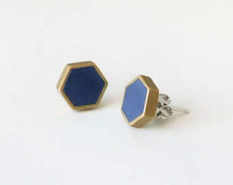 Navy hexagon stud earring