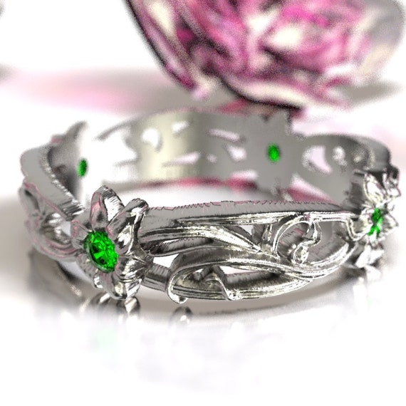 Art Nouveau Sterling Silver Floral Design Ring with Emerald, Made in Your Size CR-5018
