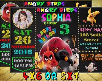 Angry Birds Invitation, Angry Birds Birthday, Angry Birds Party, Angry Birds Printables, Angry Birds Birthday Invitation, Digital File.