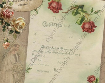 Wedding Shower Gift Printable Wedding Certificate Marriage Certificate Instant Download No 2 Vintage Victorian Wedding Digital  Download