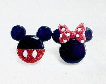 Disney Earrings, Mickey Mouse Earrings, Minnie Mouse Earrings, Disney Jewelry, Disney Vacation Earrings, Mouse Ears, Disney Honeymoon Ears