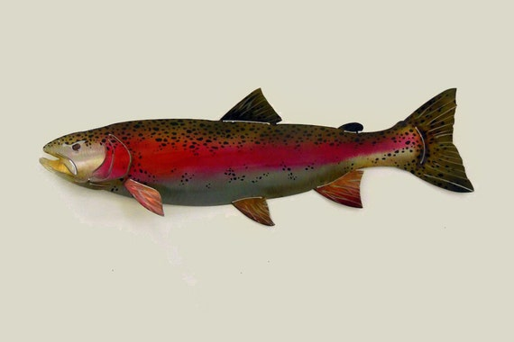 Rainbow Trout Metal Art Wall Sculpture in Stainless Steel