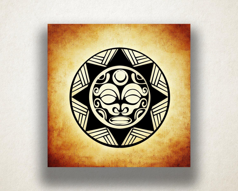 Aztec Sun Canvas Art Print Aztec Tribal Design Wall Art Sun