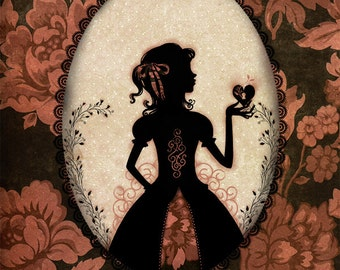 """Open Edition Print - Poster - wall decor - silhouette - victorian - Miss Shadow - """"New Love"""""""