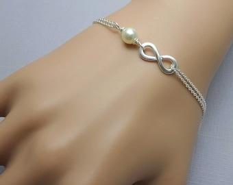 Sterling Silver Infinity Bracelet, Bridesmaid Bracelet, Infinity and Ivory Pearl Bracelet, Bridesmaid Gift Bracelet, Infinity Bracelet