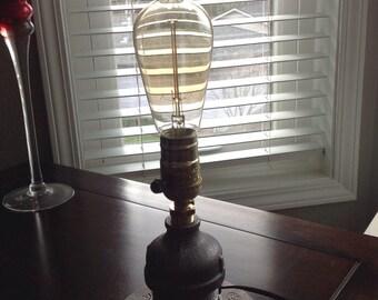 Black steel pipe desk lamp, table lamp, steampunk lighting, industrial lighting