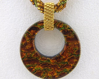 Beadwoven Spiral Rope Necklace with Fused Glass Pendant - N001BFL