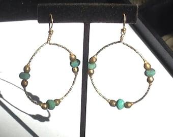 22K Gold Vermeil Beads, Gold Plated Brass, Peruvian Opals Hoops