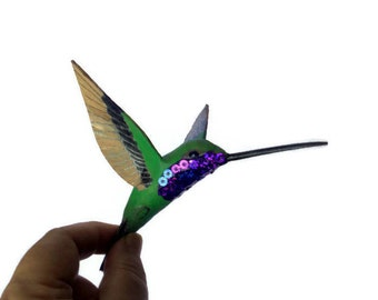 Hummingbird Art Paper mache Sculpture Colibri figurine Home decorations Anniversary gift