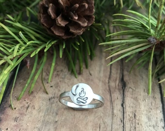 Campfire and Crescent Moon Ring, Hand Stamped, Sterling Silver, Hand Cut Campfire and Moon Ring