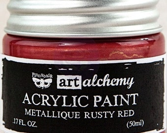Finnabair Art Alchemy Metallique Prima Metallic Acrylic Paint 1.7 oz  RUSTY RED  #963156