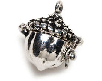Acorn Prayer Box Pendant with Antique Silver Finish, Acorn Locket #2031