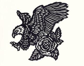 Bald Eagle and Rose