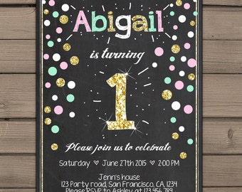Gold glitter first Birthday invitation Gold First Birthday Invite Mint Pink Gold birthday invitation Girl photo Digital PRINTABLE ANY AGE