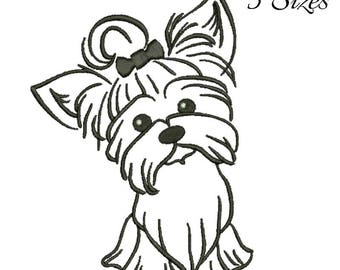 Yorkshire terrier Embroidery Machine Designs Pet animal pattern digital instant design t-shirt towel puppy dog designs hoop file