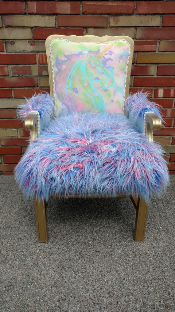 Hand Painted Unicorn Accent Chair
