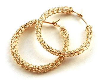 Gold Hoop earrings, gold filled hoops, wire crochet, medium size, casual- Gypsy bohemian fashion
