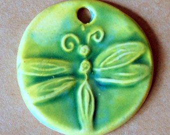 Bright Green Dragonfly Ceramic Bead - Pendant Bead with Extra Large Hole