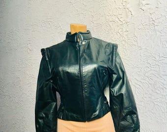 70's/80's  Vintage Black Leather Space Warrior New Wave Jacket med.