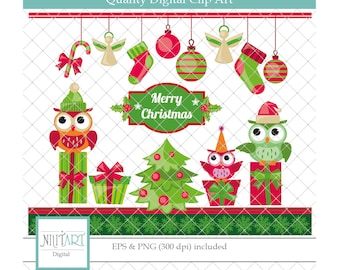 Christmas clipart, Marry christmas clipart ,  holiday clipart , vector graphics, gift clip art, digital images-  CL 128