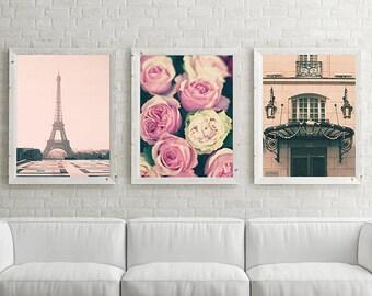 Paris photography, framed wall art, extra large wall art, Paris wall art, gallery wall set, wall art canvas, Eiffel tower, art, print, roses