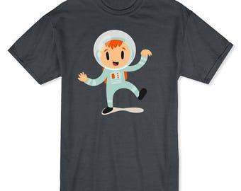 Cute Cartoon Girl In An Astronaut Costume Men's Dark Heather Halloween T-shirt