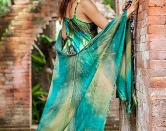 Emerald Hand Painted Silk Ruana